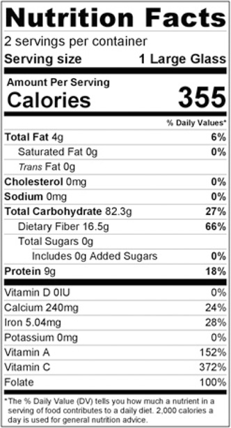 Nutrition Facts - Mango Orange and Ginger